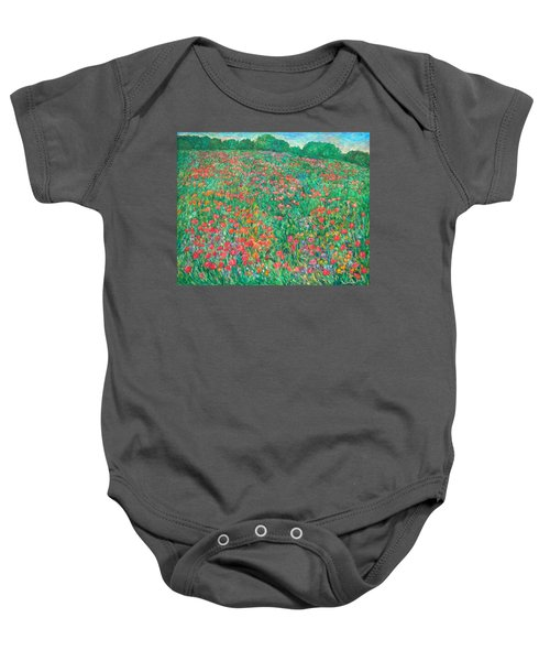 Baby Onesie featuring the painting Poppy View by Kendall Kessler