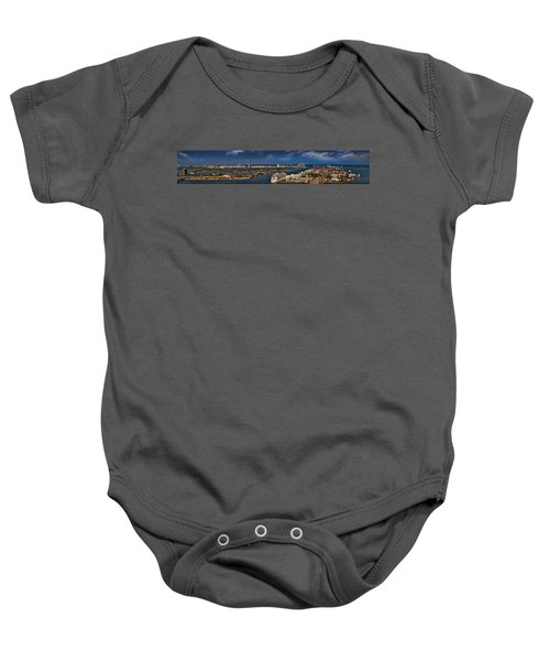 Port Of Miami Panoramic Baby Onesie by Susan Candelario