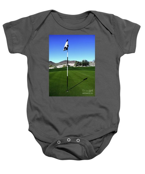 Putting Green And Flag On Golf Course Baby Onesie