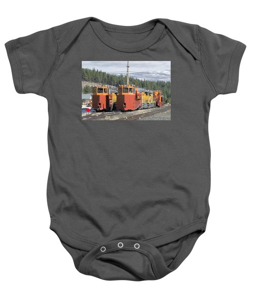 Ready For More Snow At Donner Pass Baby Onesie