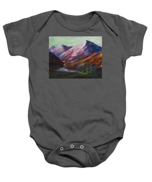 Red Mountain Surreal Mountain Lanscape Baby Onesie