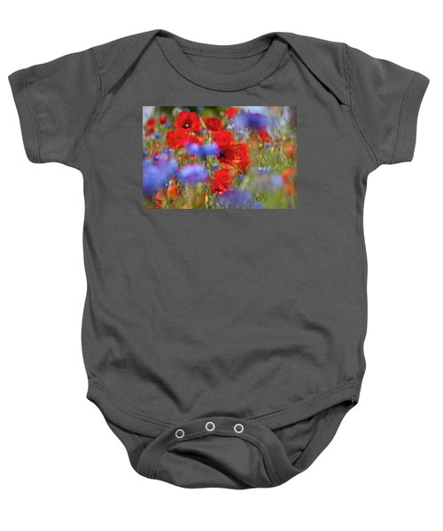 Baby Onesie featuring the photograph Red Poppies In The Maedow by Heiko Koehrer-Wagner