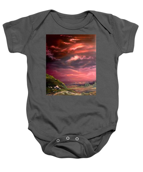 Red Sky At Night Baby Onesie by Jean Walker