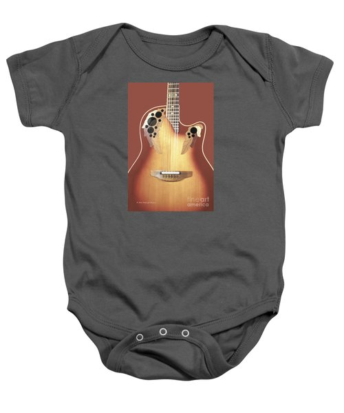 Redish-brown Guitar On Redish-brown Background Baby Onesie