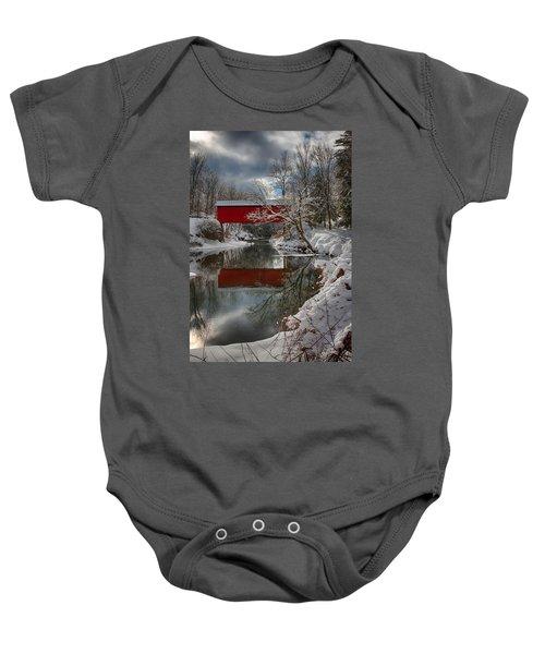 reflection of Slaughterhouse covered bridge Baby Onesie