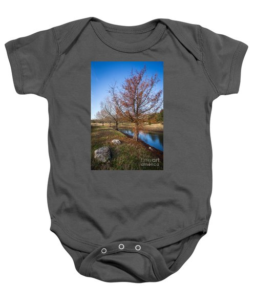 River And Winter Trees Baby Onesie