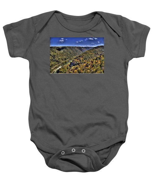 Baby Onesie featuring the photograph River Running Through A Valley by Jonny D