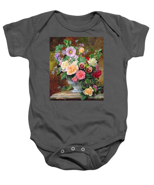 Roses Pansies And Other Flowers In A Vase Baby Onesie