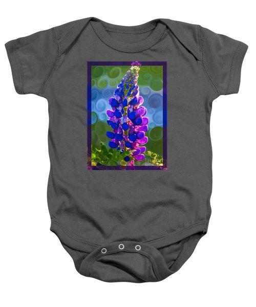 Royal Purple Lupine Flower Abstract Art Baby Onesie