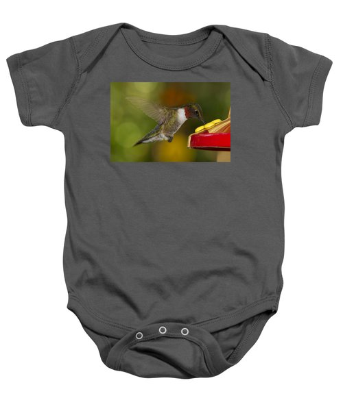 Ruby-throat Hummer Sipping Baby Onesie