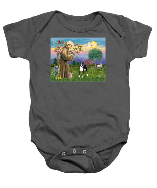 Saint Francis Blesses A Black And White Basenji Baby Onesie