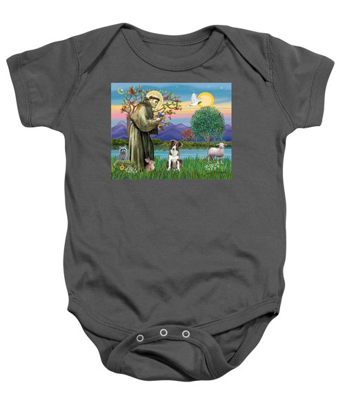 Saint Francis Blesses A Brown And White Border Collie Baby Onesie