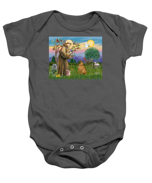 Saint Francis Blesses A Chinese Shar Pei Baby Onesie