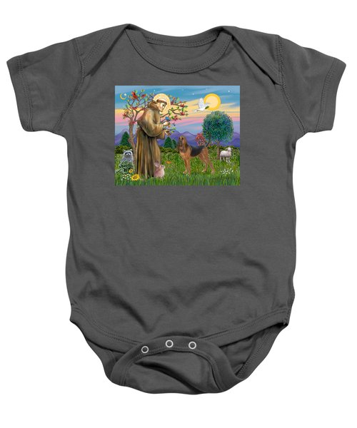 Saint Francis Blessing A Bloodhound Baby Onesie