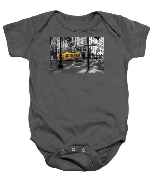 San Francisco Vintage Streetcar On Market Street - 5d19798 - Black And White And Yellow Baby Onesie