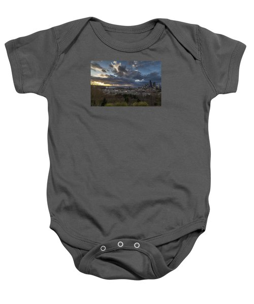 Seattle Dramatic Dusk Baby Onesie by Mike Reid