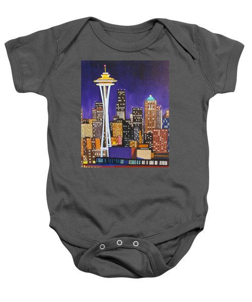 Seattle Skyline Baby Onesie