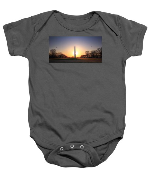 Setting Sun On Washington Monument Baby Onesie