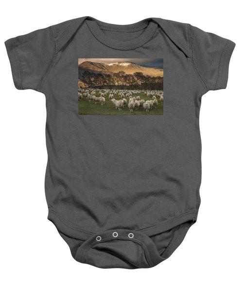 Sheep Flock At Dawn Arrowtown Otago New Baby Onesie