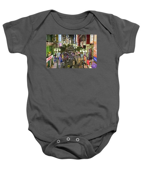 Shinjuku Street Scene At Night Baby Onesie