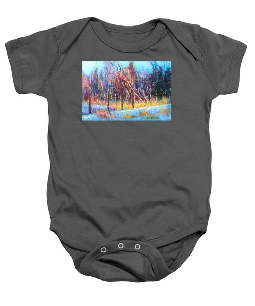 Signs Of Spring - Trees And Snow Kissed By Spring Light Baby Onesie