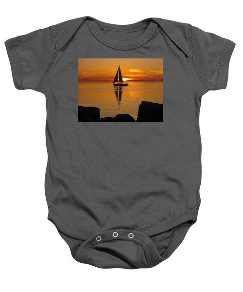 Sister Bay Sunset Sail 2 Baby Onesie