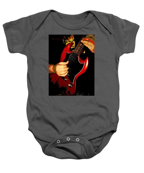 Red Gibson Guitar Baby Onesie
