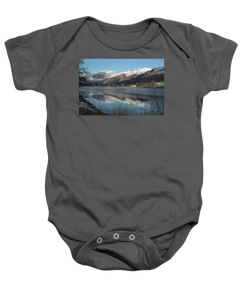 Snow Lake Reflections Baby Onesie by Kathy Spall