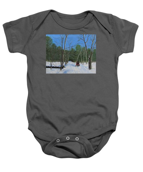 Snowmobile On Trail Baby Onesie