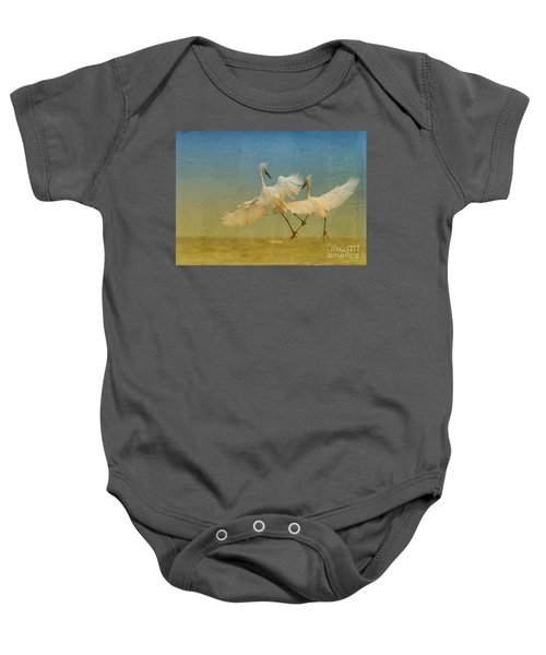 Snowy Egret Dance Baby Onesie