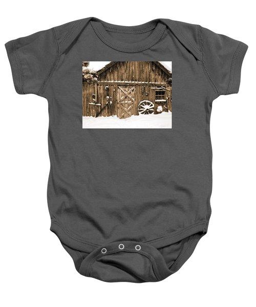 Snowy Old Barn Baby Onesie