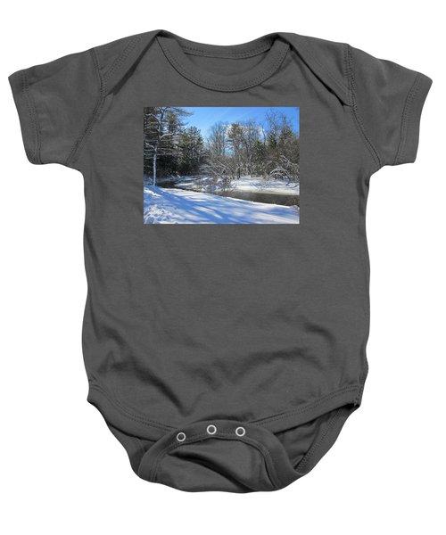 Snowy Otter Brook Baby Onesie