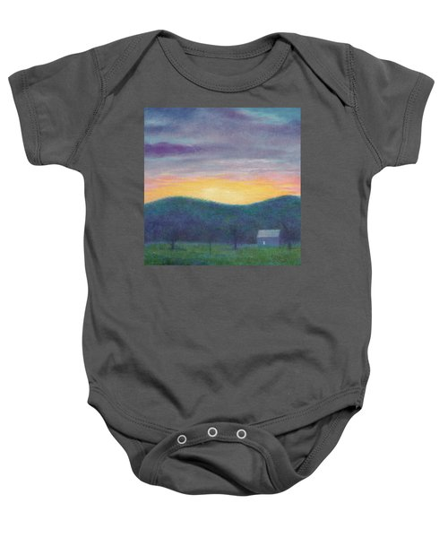 Blue Yellow Nocturne Solitary Landscape Baby Onesie