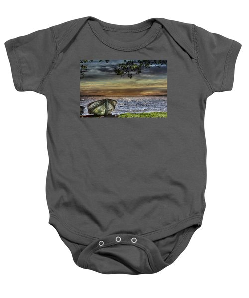 South Manistique Lake With Rowboat Baby Onesie