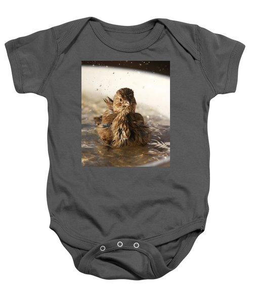 Sparrow Bathing Baby Onesie