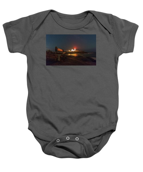 Starry Skies Over Nubble Lighthouse  Baby Onesie