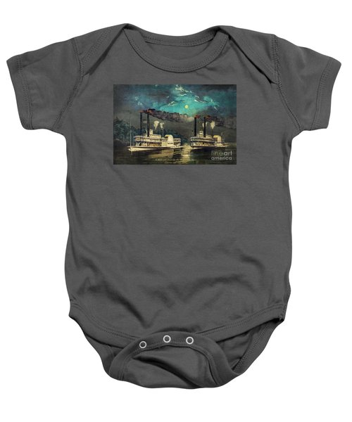 Steamboat Racing On The Mississippi Baby Onesie