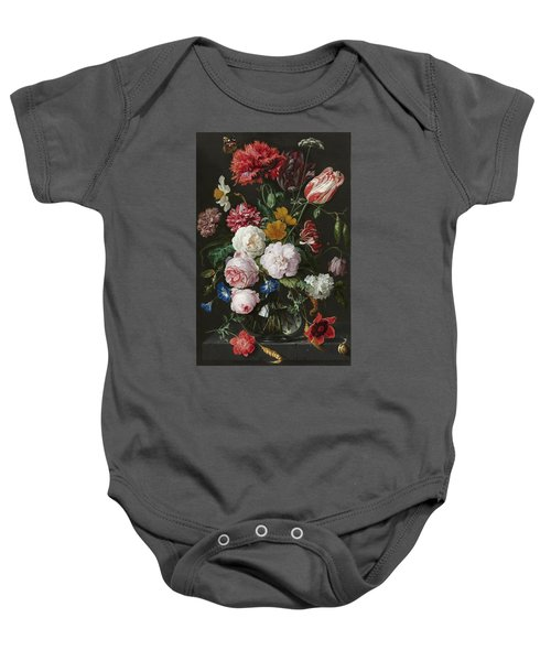 Still Life With Flowers In Glass Vase Baby Onesie