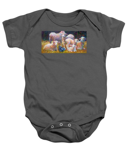 Stranger At The Well - Spring Lambs Sheep And Hen Baby Onesie