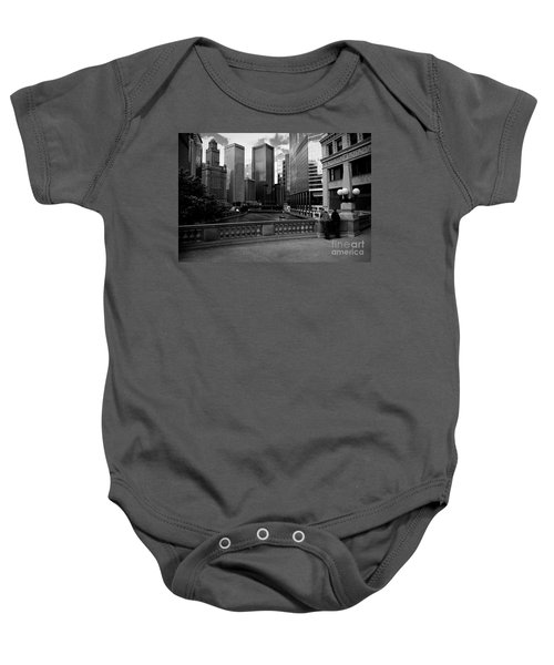 Summer On The Chicago River - Black And White Baby Onesie