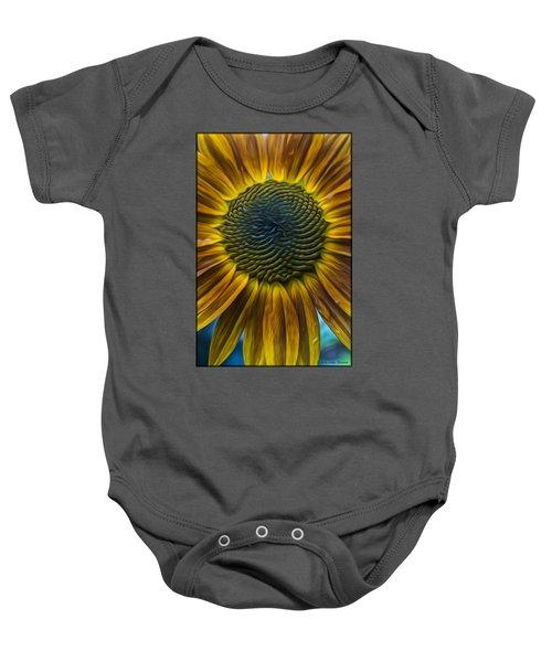 Sunflower In Rain Baby Onesie