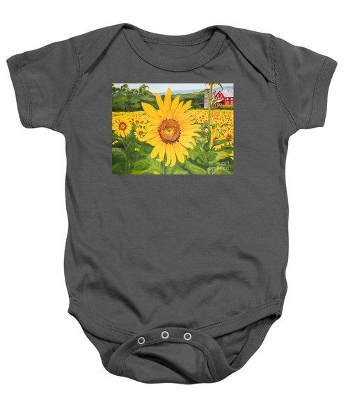 Sunflowers - Red Barn - Pennsylvania Baby Onesie