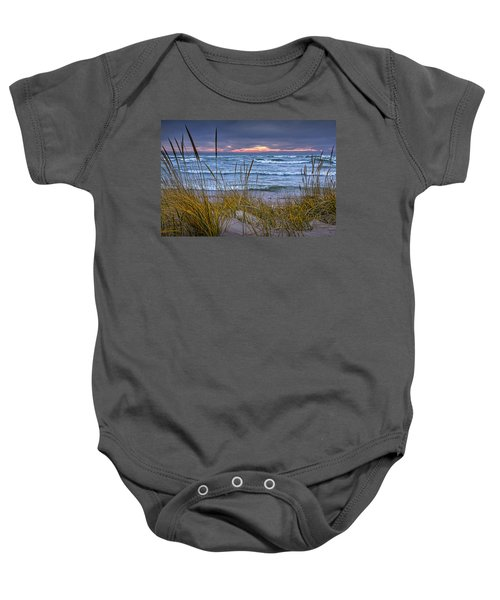 Sunset On The Beach At Lake Michigan With Dune Grass Baby Onesie