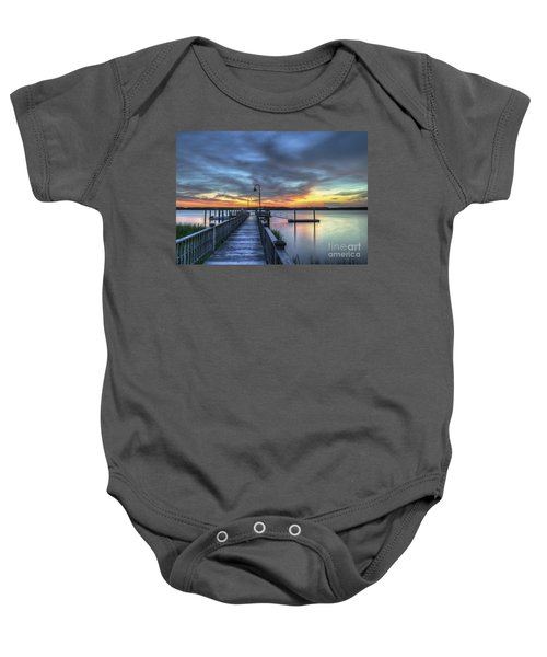 Sunset Over The River Baby Onesie