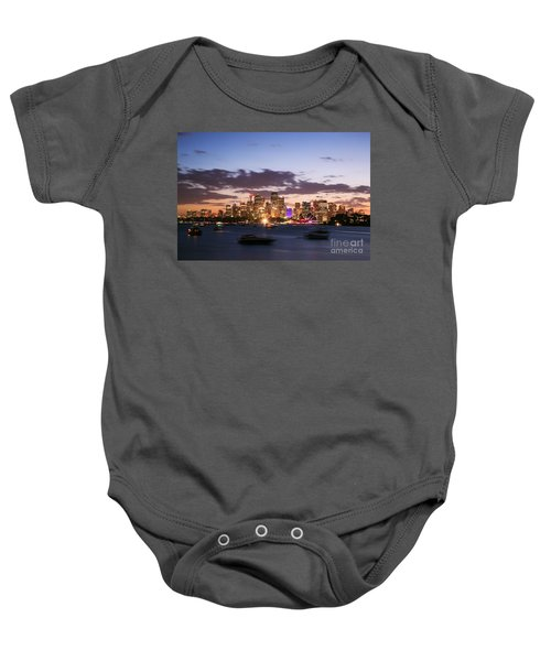 Sydney Skyline At Dusk Australia Baby Onesie by Matteo Colombo