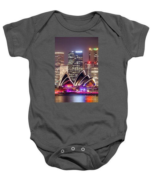 Sydney Skyline At Night With Opera House - Australia Baby Onesie by Matteo Colombo