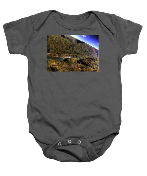 Baby Onesie featuring the photograph The River Below by Jonny D