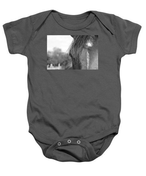 Baby Onesie featuring the photograph Thoroughbred B/w by Jennifer Ancker