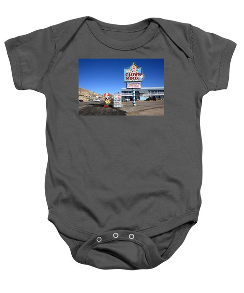 Baby Onesie featuring the photograph Tonopah Nevada - Clown Motel by Frank Romeo