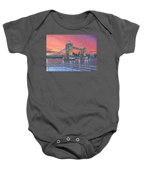 Tower Bridge After The Snow Baby Onesie by Richard Harpum